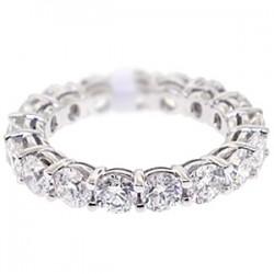 18K White Gold 3.55 ct Round Cut Diamond Womens Eternity Ring