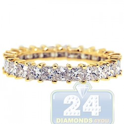 14K Yellow Gold 2.60 ct Princess Cut Diamond Womens Eternity Ring