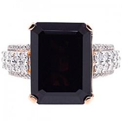 18K Rose Gold 16.40 ct Garnet Diamond Womens Ring