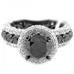 14K White Gold 5.21 ct Black Diamond Womens Engagement Ring