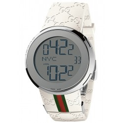 Gucci I-Gucci Digital White Rubber Mens Watch YA114214