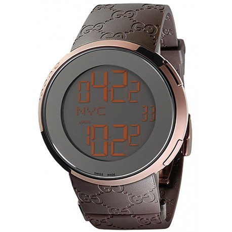 Gucci I-Gucci Digital Brown Rubber Mens Watch YA114209