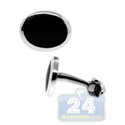 925 Sterling Silver Black Onyx Mens Oval Cuff Links