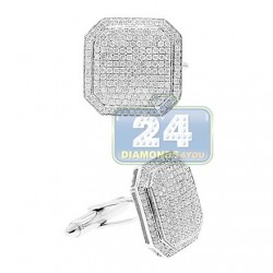 14K White Gold 2.66 ct Pave Diamond Square Mens Cuff Links