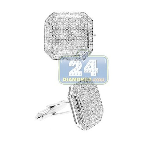 14K White Gold Mens 2.66 ct Pave Diamond Square Cuff Links