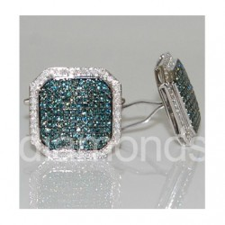14K White Gold 2.65 ct Blue Diamond Square Mens Cuff Links