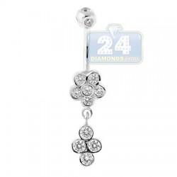 14K White Gold 1.00 ct Diamond Flower Womens Dangle Belly Ring