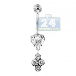14K White Gold 1.65 ct Heart Diamond Womens Dangle Belly Ring