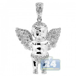10K White Gold 0.93 ct Diamond Unisex Angel Pendant