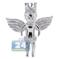 14K White Gold 2.41 ct Diamond Mens Angel Pendant