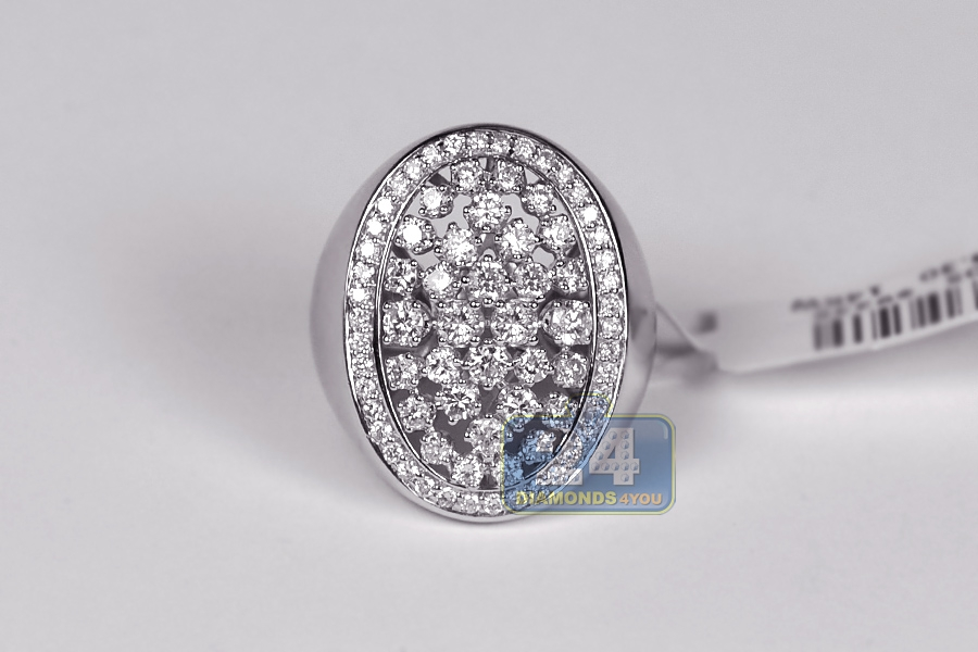 Womens Diamond Oval Signet Ring 14k White Gold 2 36 Ct