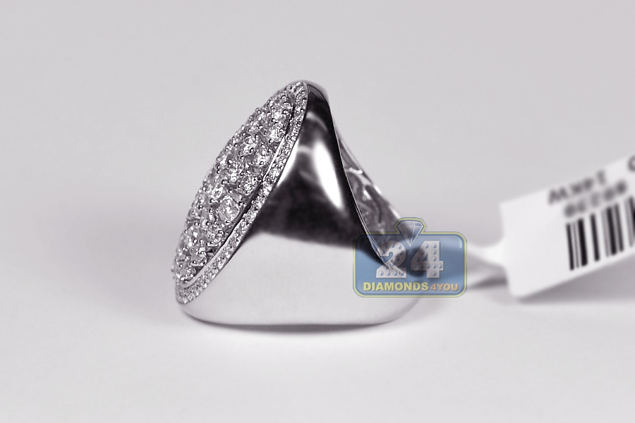 14k White Gold 2 36 Ct Diamond Womens Oval Signet Ring