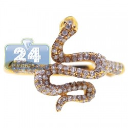 14K Yellow Gold 0.53 ct Diamond Womens Petite Snake Ring