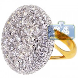 14K Yellow Gold 7.11 ct Diamond Womens Dome Ring