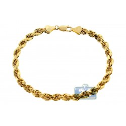 10K Yellow Gold Rope Link Mens Bracelet 5 mm 8 1/4 Inches