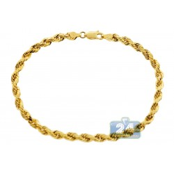 10K Yellow Gold Rope Link Mens Bracelet 4 mm 8 Inches