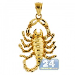 10K Yellow Gold Diamond Cut Scorpion Mens Pendant