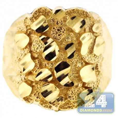 10k Yellow Gold Diamond Cut Mens Nugget Ring