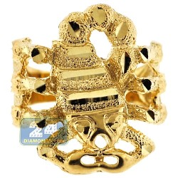 10K Yellow Gold Diamond Cut Scorpion Mens Ring