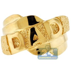10K Yellow Gold Diamond Cut Mens DAD Ring