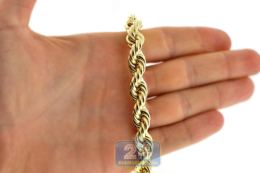 10k Yellow Gold Hollow Rope Mens Chain 10 Mm 30 Inches