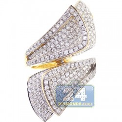 14K Yellow Gold 2.79 ct Diamond Bypass Twist Womens Ring
