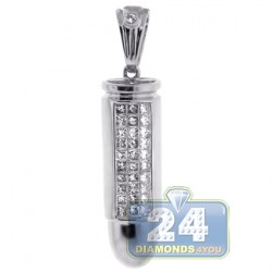 14K White Gold 0.61 ct Diamond Mens Bullet Pendant