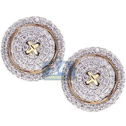14K Yellow Gold 1.22 ct Diamond Mens Round Button Cuff Links