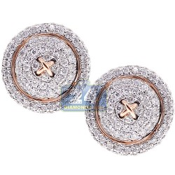 14K Rose Gold 1.24 ct Diamond Mens Round Button Cuff Links