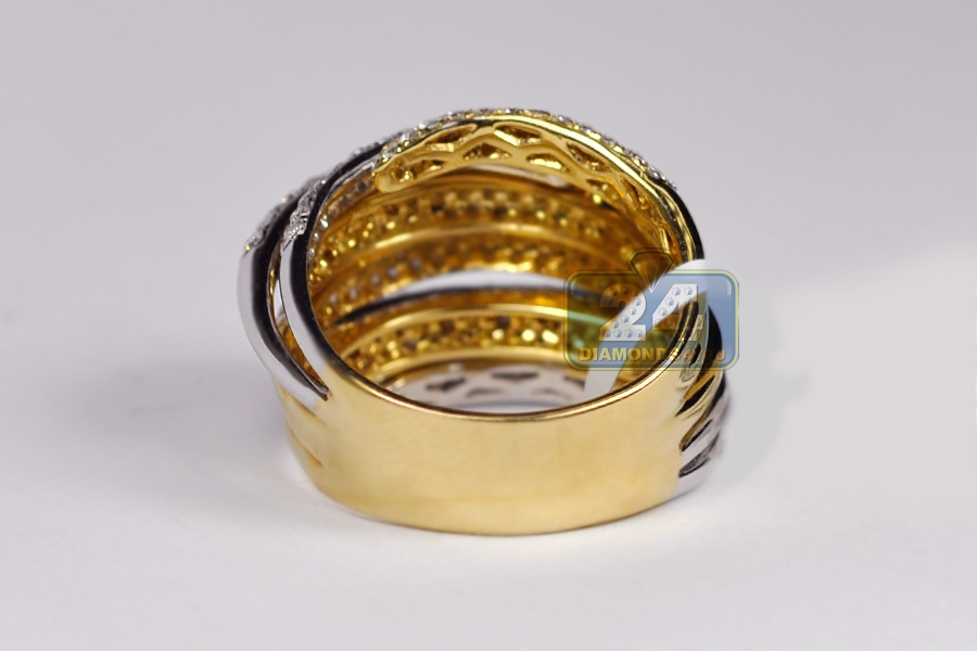 14k two tone gold 3 19 ct womens highway ring