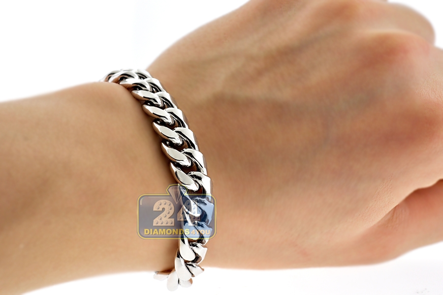 10k White Gold Hollow Miami Cuban Link Mens Bracelet 11 Mm
