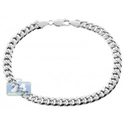 10K White Gold Hollow Miami Cuban Link Mens Bracelet 6.5 mm 9 Inches