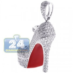 14K White Gold 2.92 ct Diamond Red Sole Shoe Womens Pendant