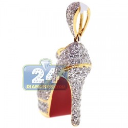 14K Yellow Gold 2.03 ct Diamond Red Sole Shoe Womens Pendant