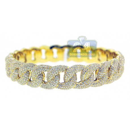 18K Yellow Gold 11.30 ct Diamond Pave Cuban Link Mens Bracelet