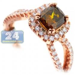 14K Rose Gold 1.74 ct Cushion Brown Diamond Womens Engagement Ring