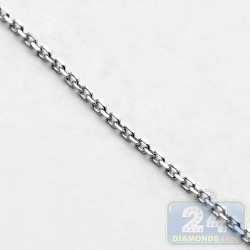 14K White Gold Cable Link Unisex Chain 0.8 mm 16 Inches