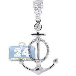 14K White Gold 0.38 ct Diamond Unisex Anchor Pendant