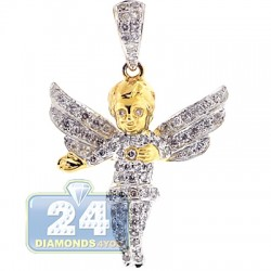 10K Yellow Gold 0.83 ct Diamond Angel Open Wings Pendant