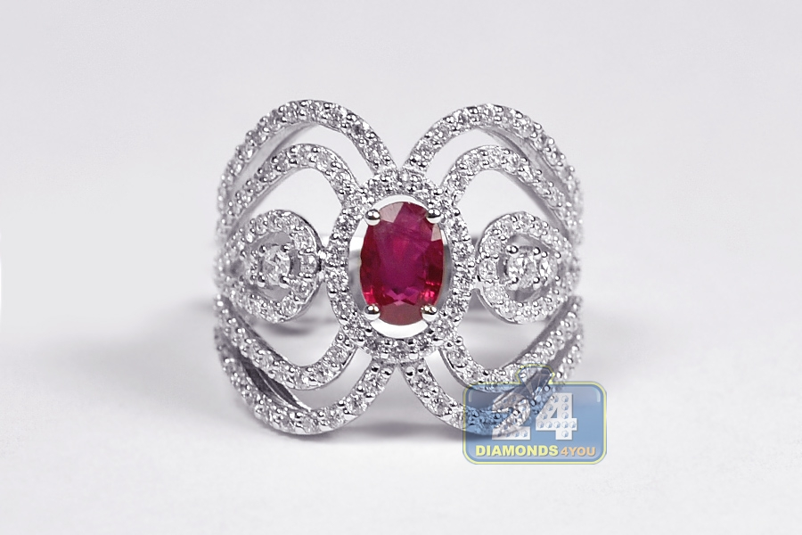 18k White Gold 2 31 Ct Diamond Ruby Womens Antique Ring