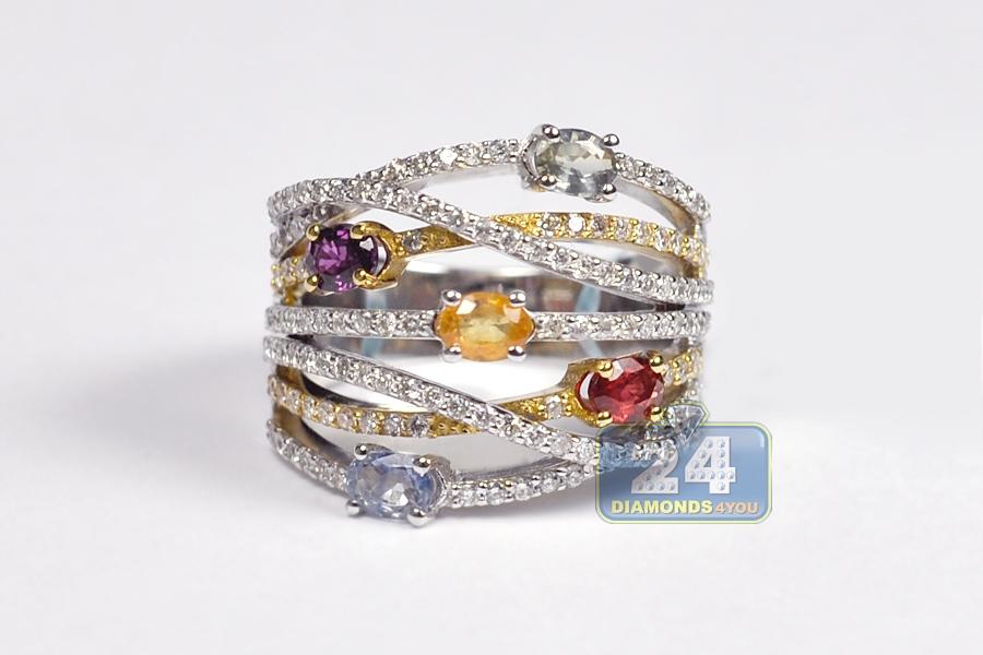 18k white gold 1 96 ct gemstone womens highway ring
