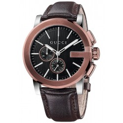 Gucci G-Chrono Brown Leather Mens Watch YA101202