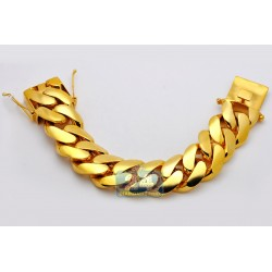 10K Yellow Gold Miami Cuban Link Mens Bracelet 30 mm 9 Inches