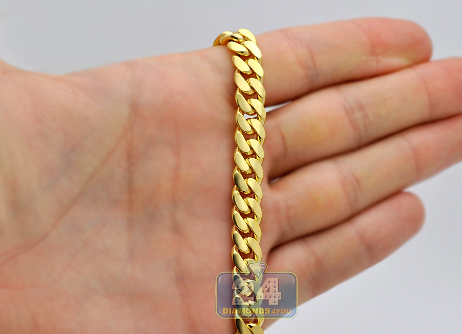 14k Yellow Gold Miami Cuban Link Mens Chain 8 1 Mm 26 Inches