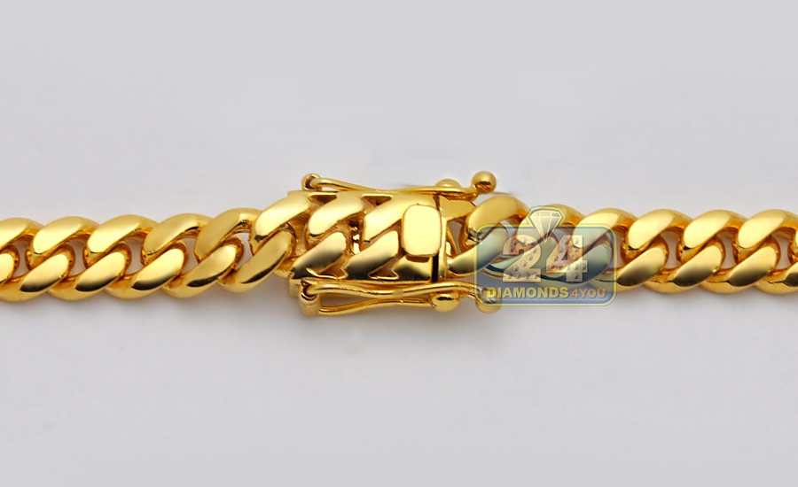10k Gold Cuban Link Chain >> 10K Yellow Gold Miami Cuban Link Mens Chain 30 Inches 11 mm