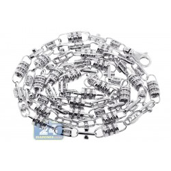 14K White Gold 6.09 ct Diamond Bead Link Mens Chain 30 Inches
