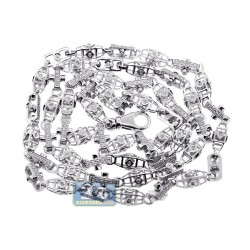 14K White Gold 3.43 ct Diamond Bead Link Mens Chain 30 Inches
