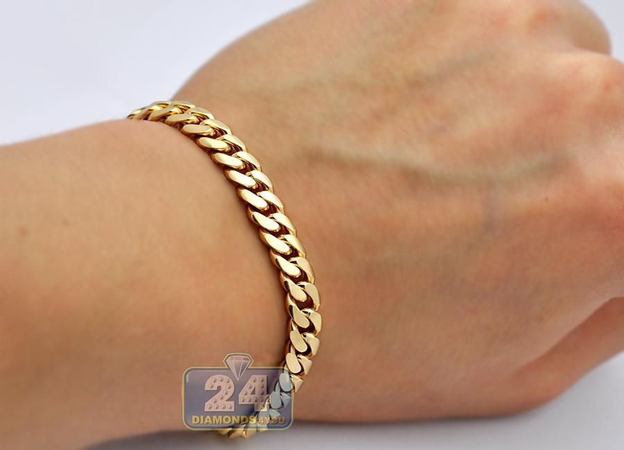 14k yellow gold miami cuban link mens bracelet 7 1 mm 10. Black Bedroom Furniture Sets. Home Design Ideas
