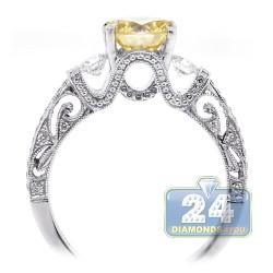 18K White Gold 1.70 ct Round Yellow Diamond Womens Engagement Ring