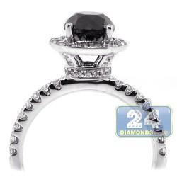 18K White Gold 2.13 ct Round Black Diamond Womens Engagement Ring